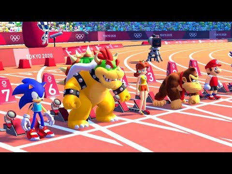 Mario & Sonic At The Olympic Games Tokyo 2020 - 100 Meter (All Characters)