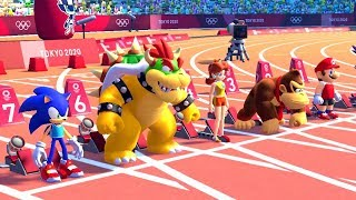 Mario & Sonic at the Tokyo 2020 Olympic Games - 100 Meter (All Characters)