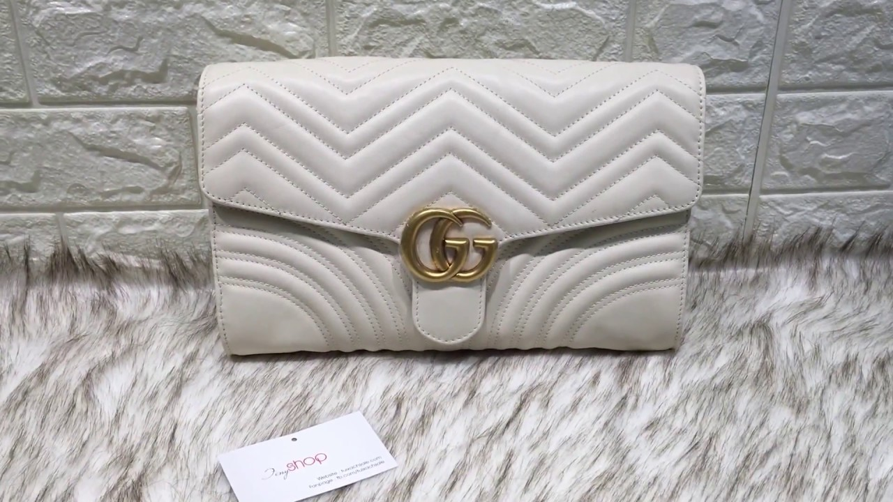 d93caa47748 Gucci Marmont clutch white - YouTube