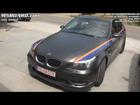 G-Power Hurricane RR BMW M5 800 HP: fueling up and onto Autobahn driven by Gustav