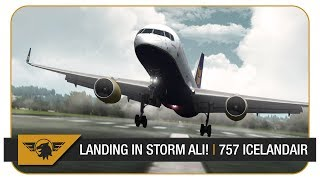 [P3D V4 60FPS] 757 LANDING IN STORM ALI! CRAZY WEATHER! | Keflavik - Glasgow