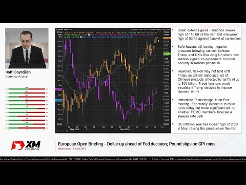 Forex News: 13/06/2018 - Dollar up ahead of Fed decision; Pound slips on CPI miss