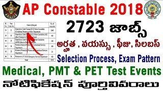 AP Police Constable Recruitment Notification Vacancy 2018 in telugu Syllabus Age PMT PET Medical fee