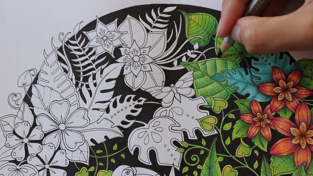 how i color flowers and leaves in the magical jungle coloring book