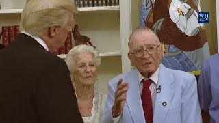 AMAZING: President Donald Trump Visits with Survivors from the USS Arizona