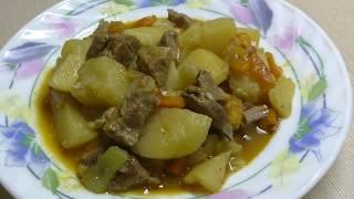 Картофель тушенный с мясом и овощами в мультиварке