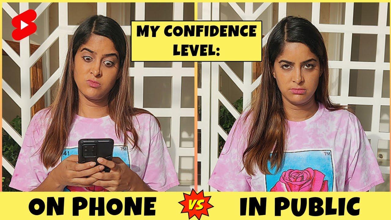My Confidence Level: On Phone VS. In Public 😂 | Anisha Dixit | #Shorts