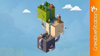 Isometric world (Low poly) - Speed 3D art ( #Cinema 4D ) | CreativeStation