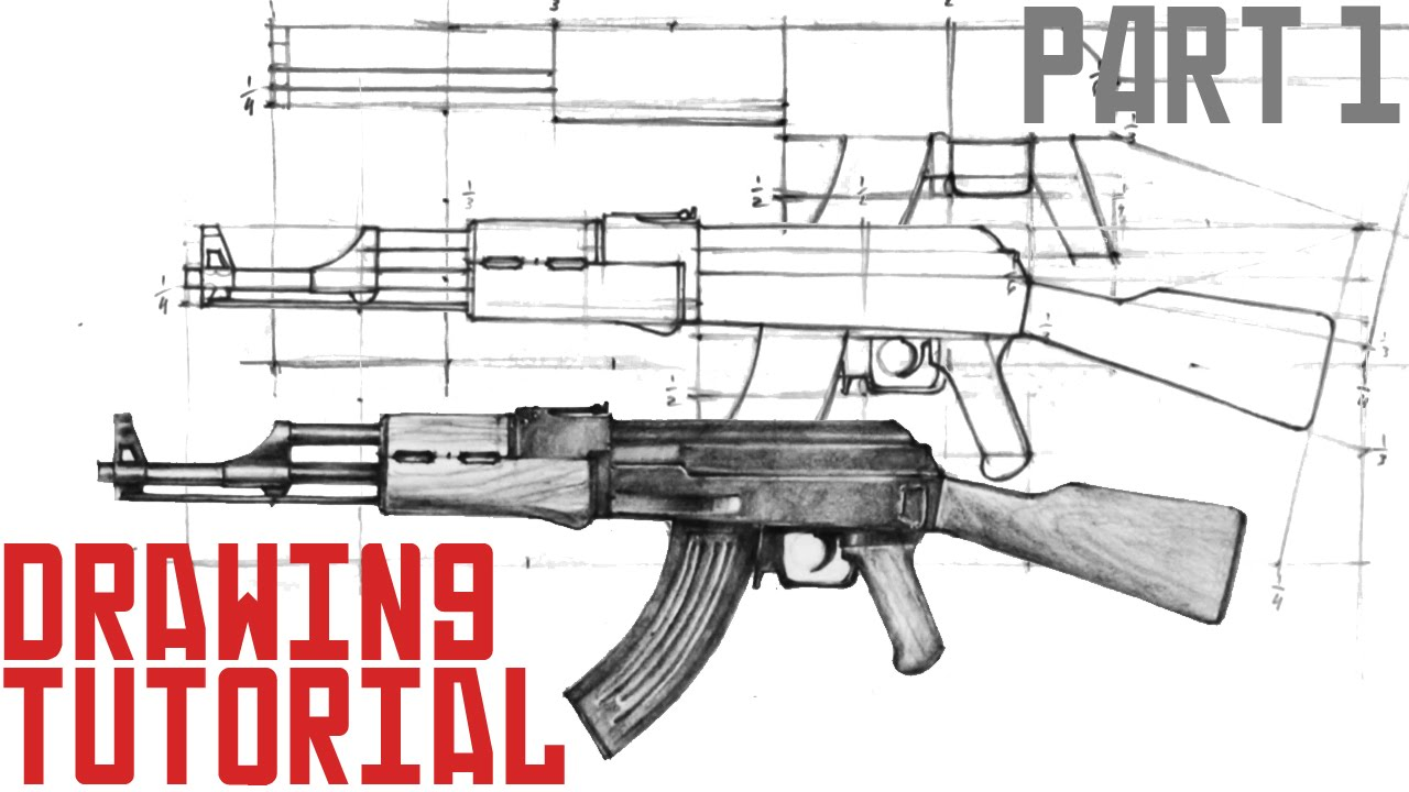 How To Draw Ak47 In 10 Easy Steps (part 1)