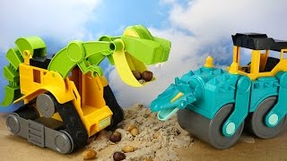 ДИНОТЕХНИКА. Каток и погрузчик. Интересные игрушки для детей. Играть весело с каналом Умные Дети ТВ!