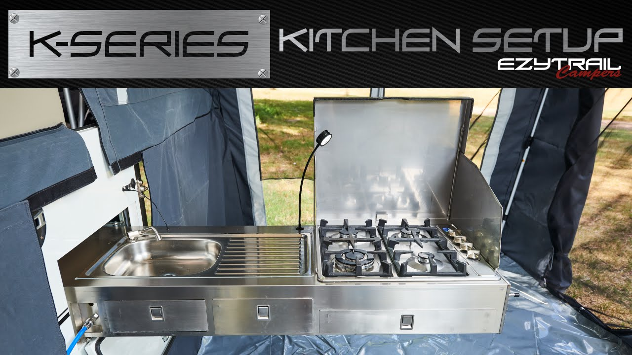 Ezytrail campers k series kitchen setup youtube for Kitchen setup