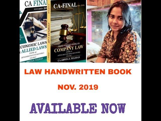 All about CA Final Law - Handwritten Book - NOV19 by CA Arpita Tulsyan
