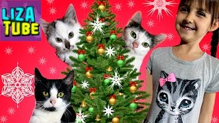 Наряжаем КОТЯТАМИ ЁЛКУ 🌲 Много Киндер Сюрпризов Лиза и котята ♥ lizatube