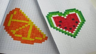 Как нарисовать сердце арбуз и апельсин | Рисунки по клеточкам