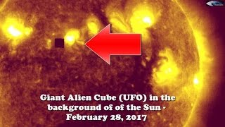 Giant Alien Cube (UFO) in the background of of the Sun - February 28, 2017(You can see that the cube side has a flat surface. In other pictures, this cube is missing. It is safe to conclude that it is not broken pixel. This is a giant ..., 2017-02-28T10:33:34.000Z)