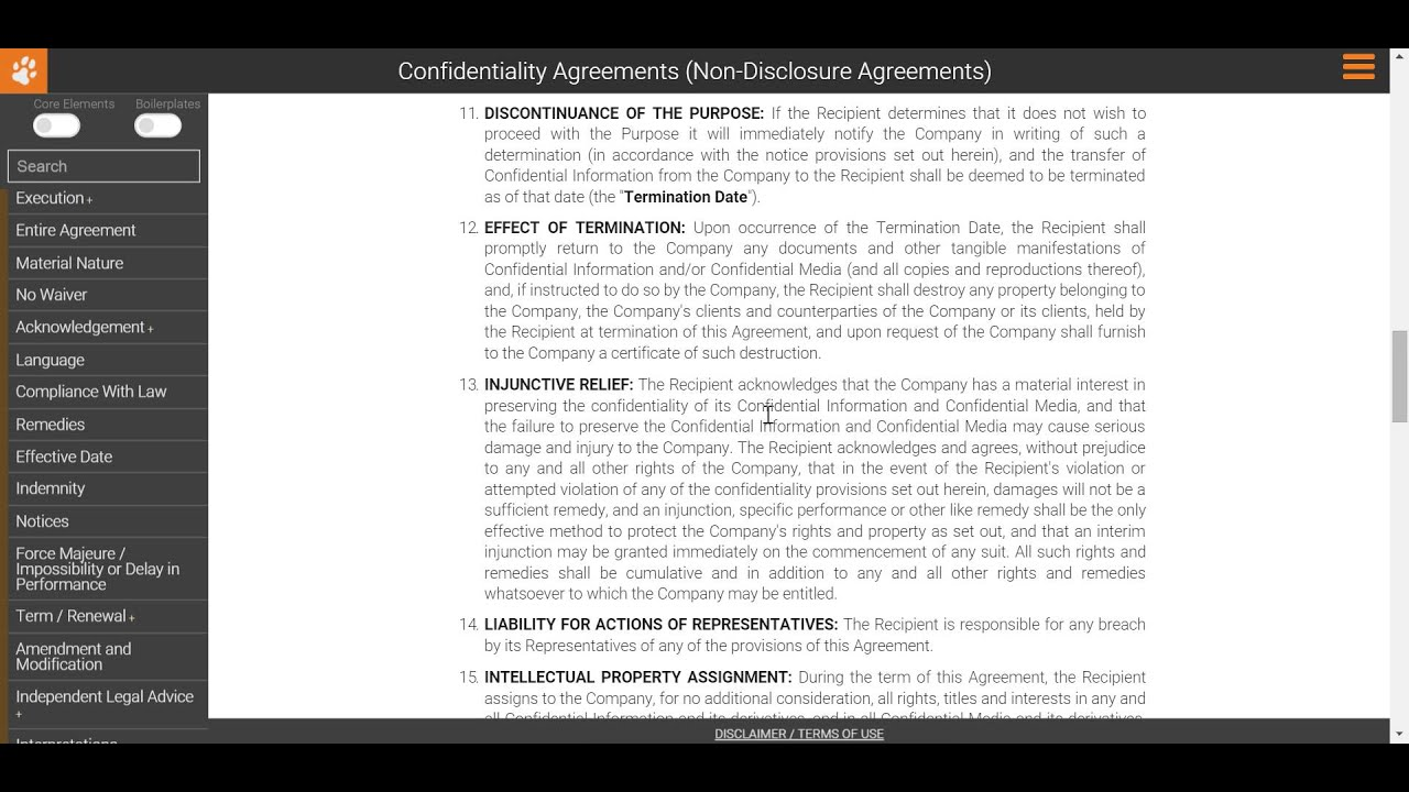 Drafting A Non Disclosure Agreement Injunctive Relief Youtube