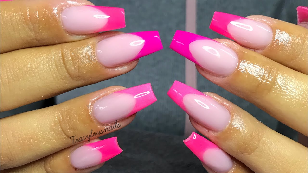 ACRYLIC NAILS   PINK FRENCH TIPS - YouTube
