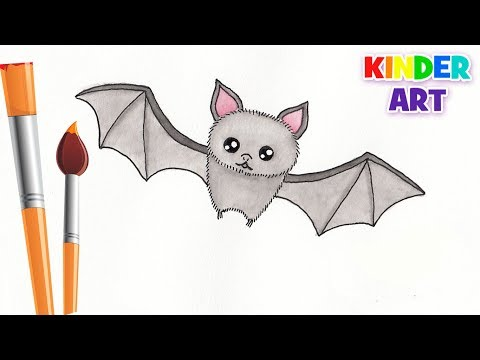 Как нарисовать летучую мышь на хэллоуин поэтапно