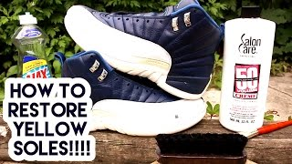 SNEAKER TIPS 101: How To Un-Yellow or Whiten soles [FULL TUTORIAL] (NO SEA GLOW)
