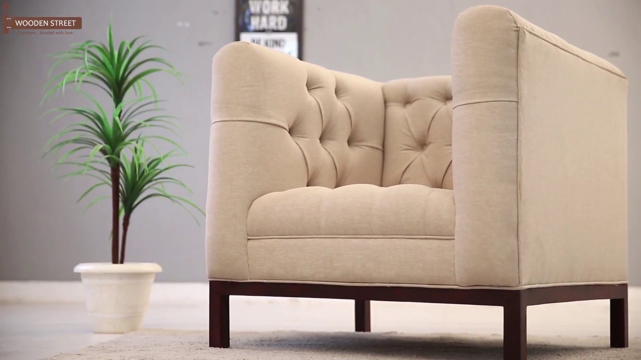 One Seater Sofa   Buy Parslo Single Seater Sofa Online In Off White Colour  From Wooden Street
