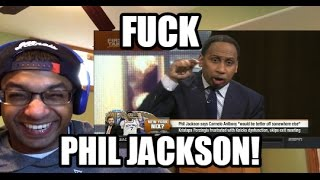 STEPHEN A RIPS PHIL JACKSON AND NEW YORK KNICKS (First Take REACTION) Porzingis, Carmelo Anthony