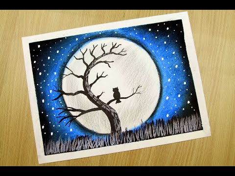 Daily Challenge #17 / Draw Full Moon light With Alone Owl Scenery | Nature Drawing | Dry Painting