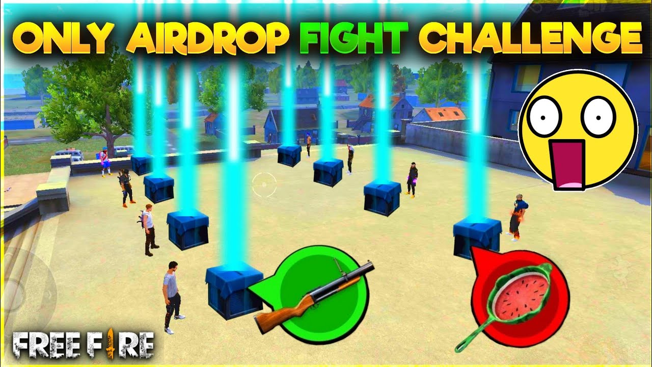 Only Airdrop Guns Challenge In Factory Roof-Who Will Win Funny Moments In FreeFire-Garena Free Fire