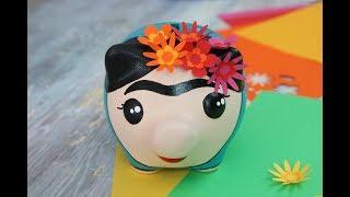 Alcancía Frida - Pintar Bizcocho Ceramico - Flores de Papel
