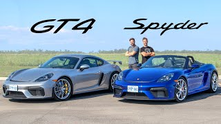 2020 Porsche 718 Cayman GT4 vs 718 Spyder // When Numbers Don't Matter