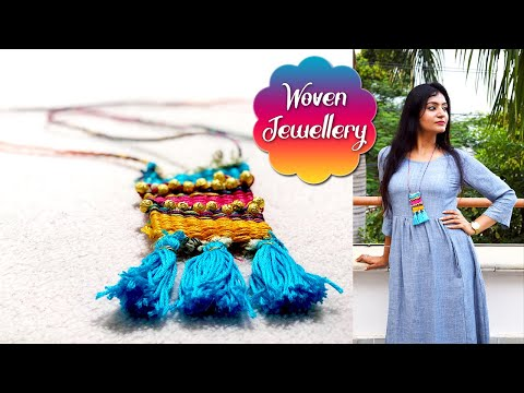 Woven Necklace Making at Home | DIY Jewellery Making Ideas | New Craft Ideas