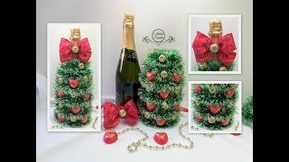 DIY ел CANDY TREE ON CHAMPAGNE BOTTLERemovable designnew year Gifts with your own hands