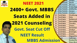 2400+ Govt. MBBS Seats Added in NEET 2021 Counseling, Cut Off Expected to Go Down Significantly!