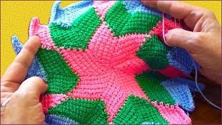 Энтерлак. Вязание коврика крючком. Тунисское вязание. (Crochet mat)