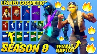 *NEW* All Leaked Fortnite Season 9 Skins & Emotes..! *FEMALE RAPTOR SKIN!*(CRYPTIC,BRACER)