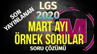 LGS MART Ayı Örnek Sorular 2020 MEB Matemetik  Son Yayınlanan