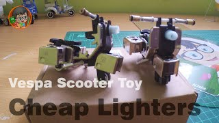 How to Make Vespa Scooter Toy made from Cheap Lighters  (Vespa Miniature)