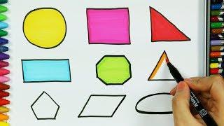 Come disegnare forme 🔸 | Colori per bambini | Come colorare | Disegno per bambini |Imparare i colori