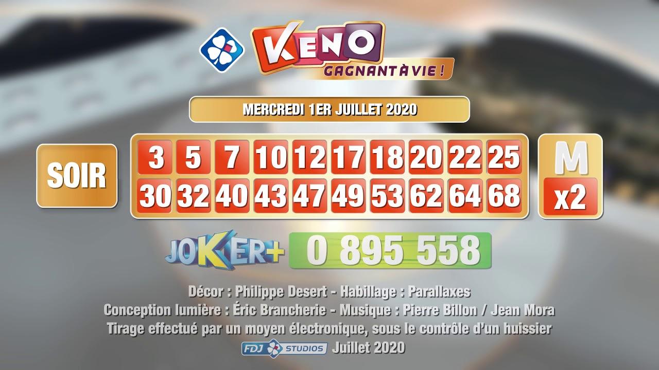 Tirage du soir Keno gagnant à vie® du 01 juillet 2020 - Résultat officiel - FDJ