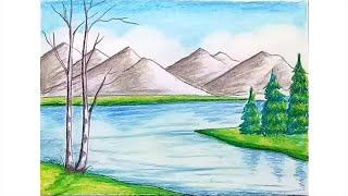 mountain scenery draw step