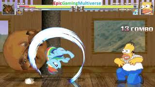Tedi The Robotic Teddy Bear And Annoying Orange VS Homer Simpson And Rainbow Dash In A MUGEN Match