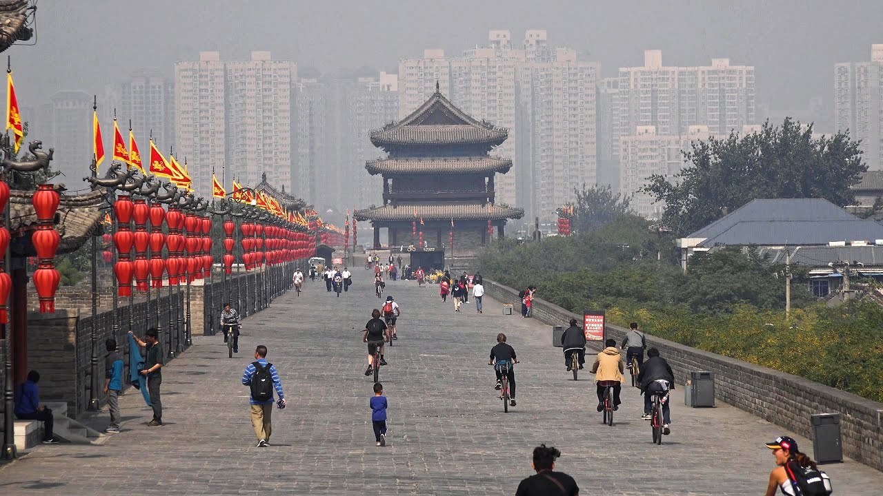 what is smog xi an china city walls goose pagodas [ 3840 x 2160 Pixel ]
