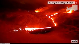 First 6 Hours of the Volcanic Eruption on Fagradalsfjall in Iceland - Time-Lapse