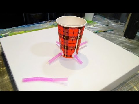 "Acrylic pouring: Carousel ""cup with straws"" experiment. Tips & tricks for cells in dirty pour, Fluid"