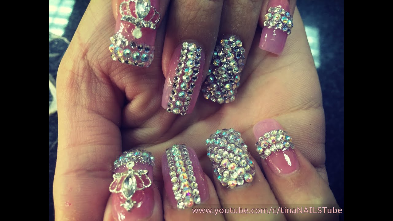Acrylic nails bling bling nails nail design part 2 youtube prinsesfo Image collections