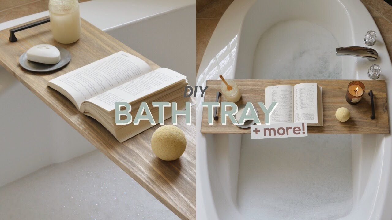 Diy bath tray bathroom decor youtube for Bathroom tray decor