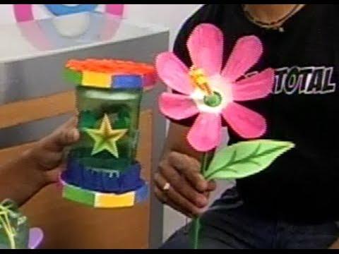Cotill n y flor con botella plastica p 52 parte 3 3 - Manualidades con vasos ...