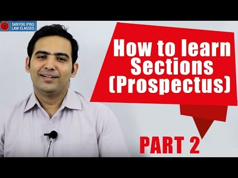 How to learn Sections (Prospectus) | Part 2 | By Advocate Sanyog Vyas | Law Lecture In Hindi