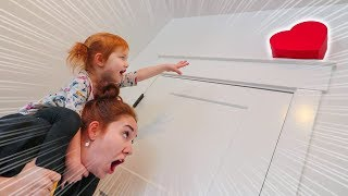 HIDDEN VALENTINE'S DAY PRESENTS!! (stuck in the fan) Ultimate Heart Eggs HIDE N SEEK with Adley