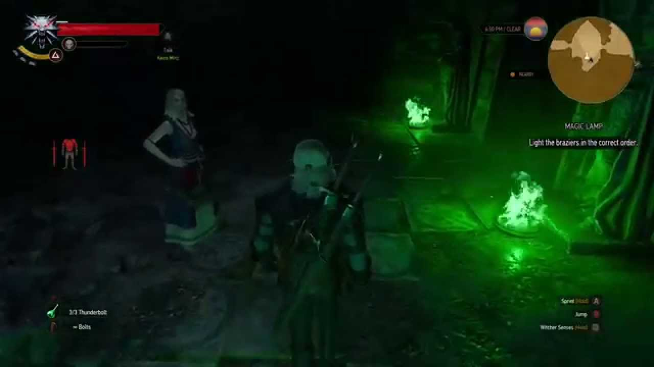 The Witcher 3 Magic Lamp Light The Braziers In The Correct Order Youtube