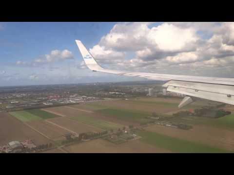 KLM Flight KL 1364 Landing In Amsterdam, Holland From Warsaw, Poland